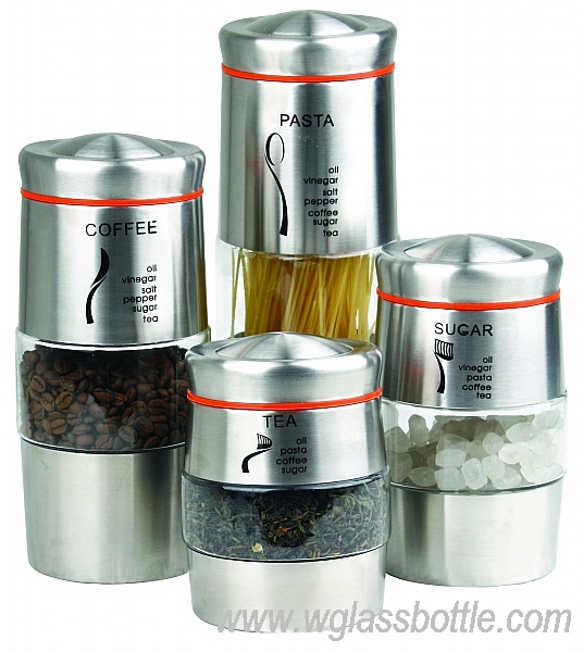 Stainless steel glass storage jar/canister