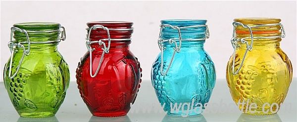 Spice jar set with colored locking lids - Pack of 12