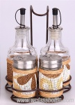 Set of glass oil bottles and spice jars in an iron shelf